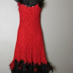 Dresses & Skirts - Saloon Girl Flapper costume dress Red Feathers